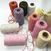 100 Metri / rotolo 2mm Double Color Cotton Baker Twine Corda per DIY Handmade Corda Accessori Twisted Cords per imballaggio decorativo