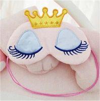 DHL ücretsiz Güzel Pembe / Mavi Taç Uyku Maskesi Siperliği Göz Kapağı Seyahat Karikatür Uzun Kirpikler Körü Körüne Hediye Kadın Kızlar Için lesgas