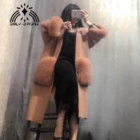 femmes pull en cachemire de vison tricoté avec grande poche de fourrure veste lâche manteau de mode cardigans 110 longueur