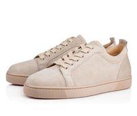Fabriek goedkope prijs klassieke rode bodem lage sneakers beige suede junior heren platte schoenen, beroemde merk rode enige jonge man mode skate shoe
