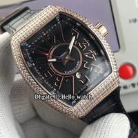 Coleção masculina Novo Saratoge Yachting V45 SC DT DT Black Dial Automatic Mens Watch Rose Gold Case Diamante Bezel Strap 4 Relógios de cor 4