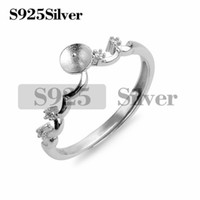 Simple Ring Wave Design Jewelry Blanks Zircon 925 Sterling S...