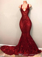 2019 Sexy Red Blingbling Sequins Prom Dresses Sleeveless Mer...