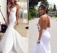 Bohemian Mermaid Wedding Dresses 2019 Modest Simple Spaghett...