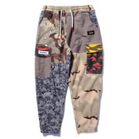 Pantalones de chándal de Hip Hop Pantalones casuales Patchwork Bloque de color vintage Harem Joggers Camo Tatical Pantalones cargo
