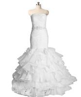 우아한 백인 인어 웨딩 드레스 신부 가운과 아플리케와 함께 구슬 결정 크리스탈 레이스 업 플러스 사이즈 선박 1-2 일 QC1226