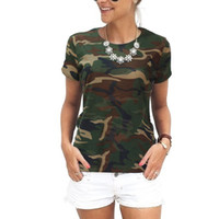 Sommer Frauen T-Shirt Camouflage Lose T-Shirt O-Neck Casual Frau Camouflage Tops Baumwolle Lose Kurze Seleeve Army Green