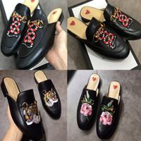 Lüks Tasarımcı Prenstown Kadın Kürk Terlik Moda Hakiki Deri Loafer'lar Ayakkabı Metal Zincir Bayanlar Rahat Katır Daireler US5-US11 w03