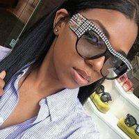 CCSPACE Oversized Rhinestone Square Frame Sunglasses Para Mulheres Diamante brilhante moças Moda Feminina Shades 45482