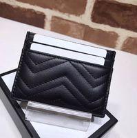 للجنسين حامل بطاقة ضئيلة من محفظة الأزياء شعار المرأة الشهيرة تبيع الكلاسيكية حقيبة بطاقة Marmont عالية الجودة حقيبة جلدية فاخرة مع صندوق
