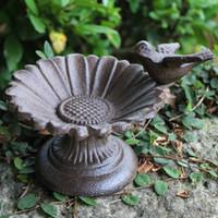 2 Pièces En Fonte Tournesol Oiseau Forme De Fleur Mangeoire À Oiseaux Pour Jardin Stand Bol Oiseau Bain D'oiseau Bain Antique mis sur Patio Cour Décor