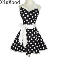 Xiumood retro lindo camarero sexy delantal vestido con bolsillo algodón blanco encaje negro lunares cocina cocinero cocina delantales para mujer