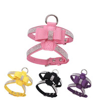 Bow Knot Cuoio Cablaggio per cani Guinzaglio Collare Bling Strass Pet Dog Puppy Walking Fascia toracica Pet Products for small dog