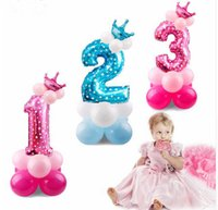 Blue Pink Number Balloon Happy Birthday Balloon Birthday Par...