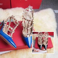 2018 new women' s high heels party fashion rivets girls ...