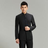 Custom Made Groom Men Suit 2 Pezzi (Giacca + Pantaloni + Cravatta) Moda Groomsmen Smoking Mandarino Uomini Abiti per Matrimoni 273