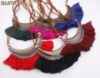 Кожаное ожерелье из кожи Большое Crescent Ожерелье Богемия Длинные колье Ожерелье для женщин Новый дизайн Boho Винтажные оптовые украшения