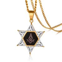New Hexagon Masonic Star Of David Pendant Necklace For Men Women CZ Stones Stainless Steel Freemason Masonry AG Emblem Jewelry