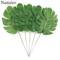50pcs Large Silk Artificial Green Leaf Tropical Palm Foliage...