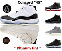 11s Mens Basketball Shoes Platinum Tint Concord 45 Prom Nigh...