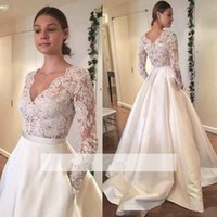 Long Sleeves 2018 Wedding Dresses modest A- line V- neck Lace ...