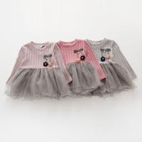 Vestido de las niñas Primavera Nueva princesa Gasa costura de punto de manga larga trajes de Año Nuevo para las niñas Niños Ropa k1