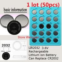 50pcs 1 Los LIR2032 3.6V Lithium-Li-Ion wiederaufladbare Knopfzellenbatterie 2032 3.6 Volt Li-Ion-Münzenbatterien ersetzen CR2032 Freies Verschiffen