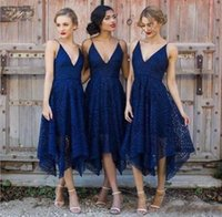 2018 Tea Length Lace Bridesmaid Dresses 2018 Elegant Irregul...