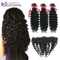 Beau Diva Paquetes de onda profunda con cabello humano brasileño frontal 3 paquetes con cierre 13x4 Cordón frontal 9A Cabello humano suave y saludable