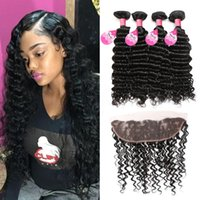 8A Grade Brazilian Virgin Deep Wave 4 Bundles with Lace Fron...