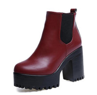 new autumn winter women ankle boots square heel platform pu ...