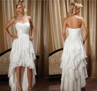 Короткие передние длинные задние свадебные платья простой дизайн милая шифон высокая низкая страна Западная пастушка Привет-Ло свадебные платья Платье