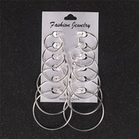 New Punk 6 Pairs  set Big Circle Hoop Earring Set For Women ...