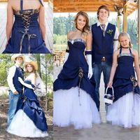 Camo West Cowboy Style Robes De Mariée Sans Bretelles Blanc Et Bleu Marine Long Une Ligne Robes De Mariée pour Mariage En Plein Air Plus La Taille