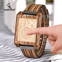 BOBO BIRD Touch Panel Digital Display a LED da uomo Orologi da donna Orologi relojes para hombre con scatola di regali in legno Relogio Masculino
