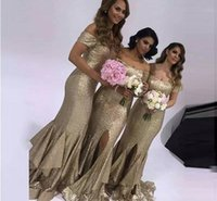 Gold Mermaid Long Bridesmaid Dresses Off Shoulder Sequined S...