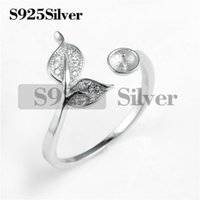 Two Leaves Adorned Ring Pearl Settings 925 Sterling Silver S...