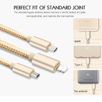 3 in 1 Type c Micro usb Cable 1. 2M Nylon usb data charging c...