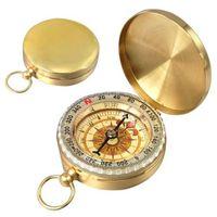 Neue Outdoor-reisen Camping Wandern Portable Tasche Messing Gold Farbe Kupfer Kompass Navigation mit Noctilucence Display