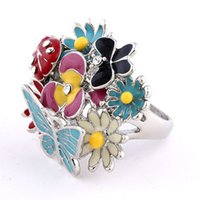 High- end Finger Ring Colorful Drop Oil Ladybug Butterfly Flo...