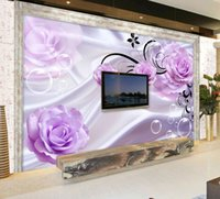 Custom Photo Wallpaper 3D Floral Purple Rose Silk Background...