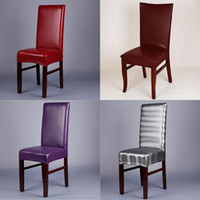 Housse de chaise élastique en cuir PU imperméable Spandex Home Decor à manger Stretch Housse de chaise pour les mariages Banquet Hôtel chaise Slipcovers