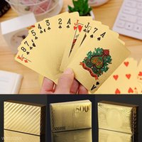 Stylish Waterproof 24K Gold Foil Plated Cover Poker 54 Playi...