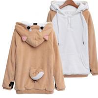 Bonito Quente Harajuku Japonês Kawaii Hoodies Mulheres Camisolas Com Orelhas Bonito Doge Muco Inverno De Pelúcia Lindo Muco! Anime Hoodies Com Capuz
