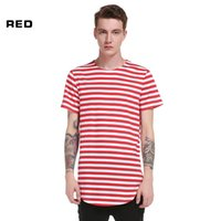 New Men Striped Printed Mens Longlines T Shirts Cotton Short...