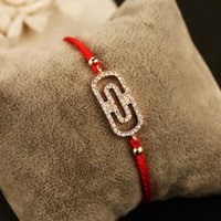 Brief Red Rope Chain Bracelets for Women Crystal Round Charm...