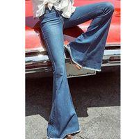 Vintage Plus Size Jeans Woman Slim Elastic High Waist Jeans Zipper Up Wide Leg Pants Women