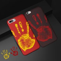 Termossensível Color Change Caso mágico PU Fingerprint Capa fluorescente térmica Calor sensor para iPhone 11 Pro Max XS XR X 8 7 6 6S Além disso,