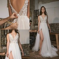 2019 Abiti da sposa vintage scollo a V in pizzo abiti da sposa appliquati spacco alla coscia backless Boho Beach Plus Size Visualizza Through vestito da sposa