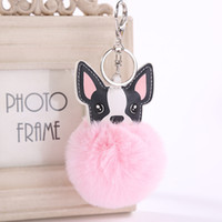 Fluffy Artificial Rex Rabbit Fur Keychain Chihuahua Dog Key ...